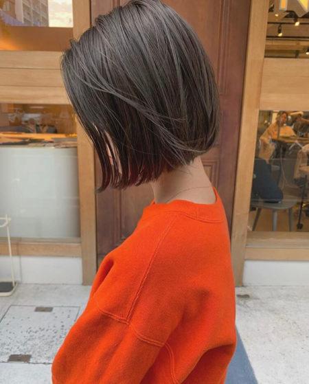 黒髪×ナチュラル切りっぱなしボブ