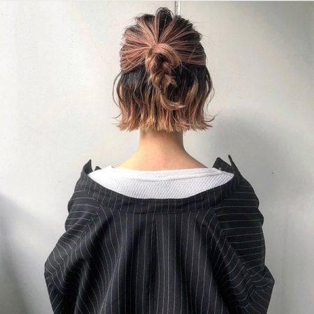 ハーフアップお団子三つ編みヘアアレンジ