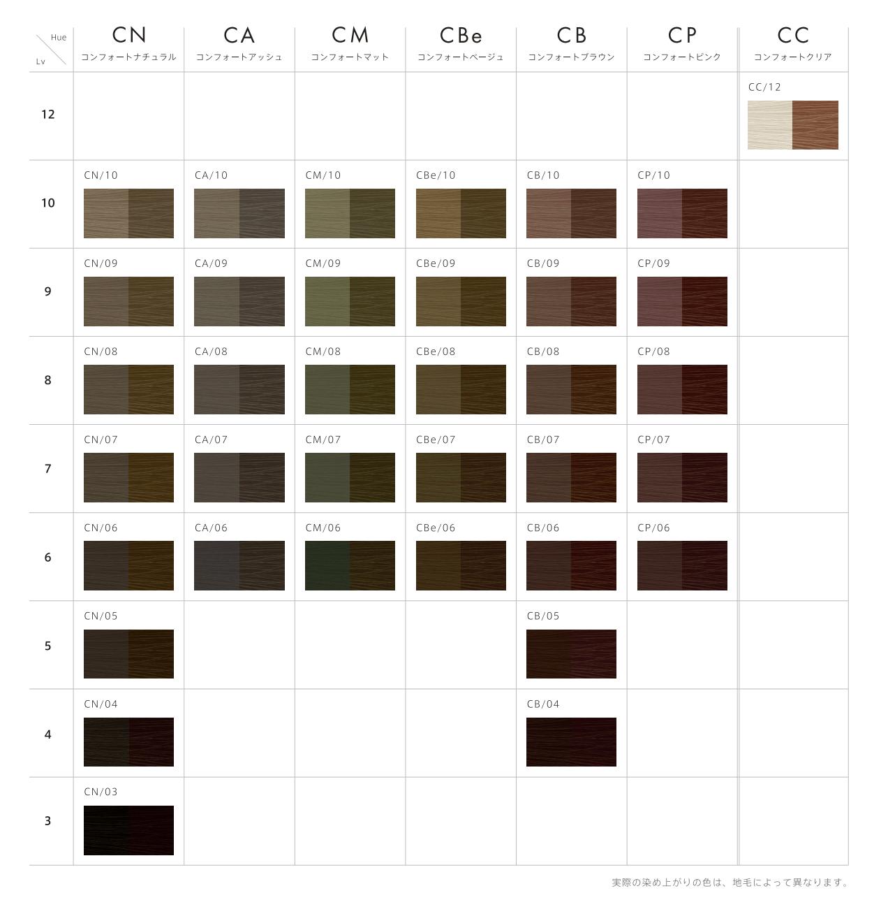スロウ コンフォート カラーチャート