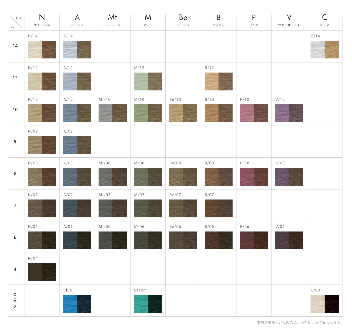 スロウ ファッション カラーチャート
