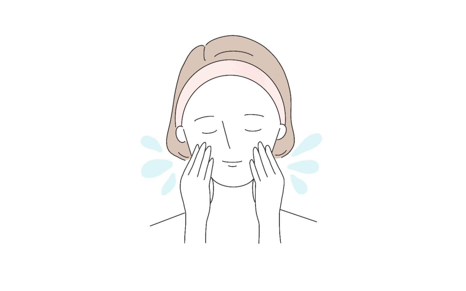 手順②顔をぬるま湯で濡らす