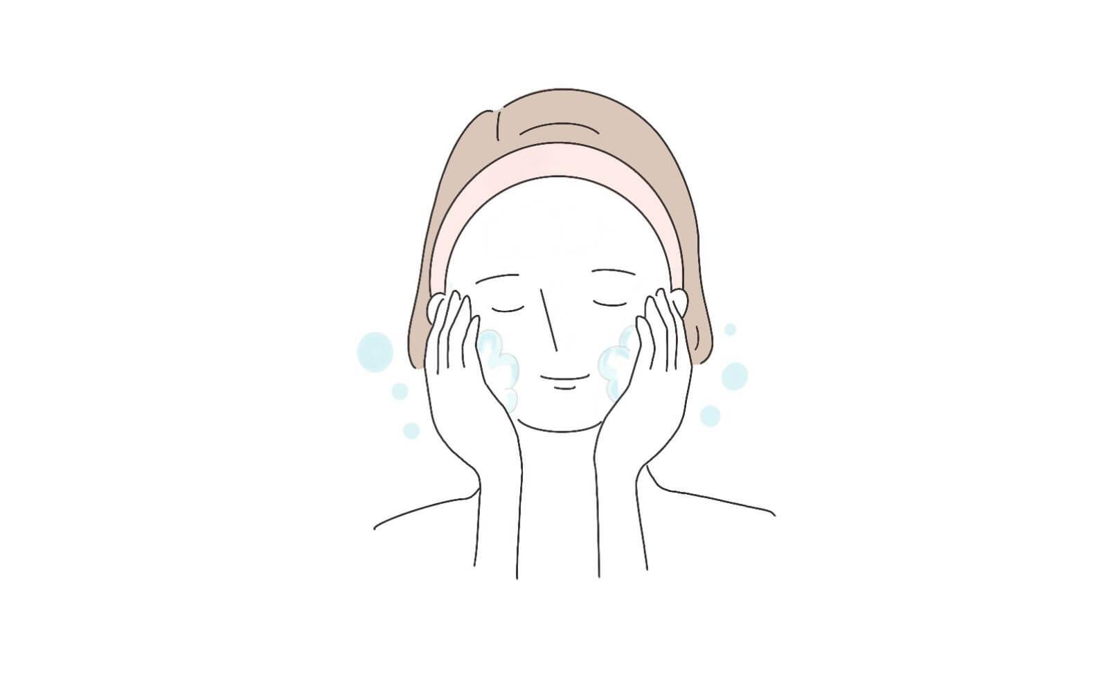 手順④泡で顔を洗う。摩擦はNG!