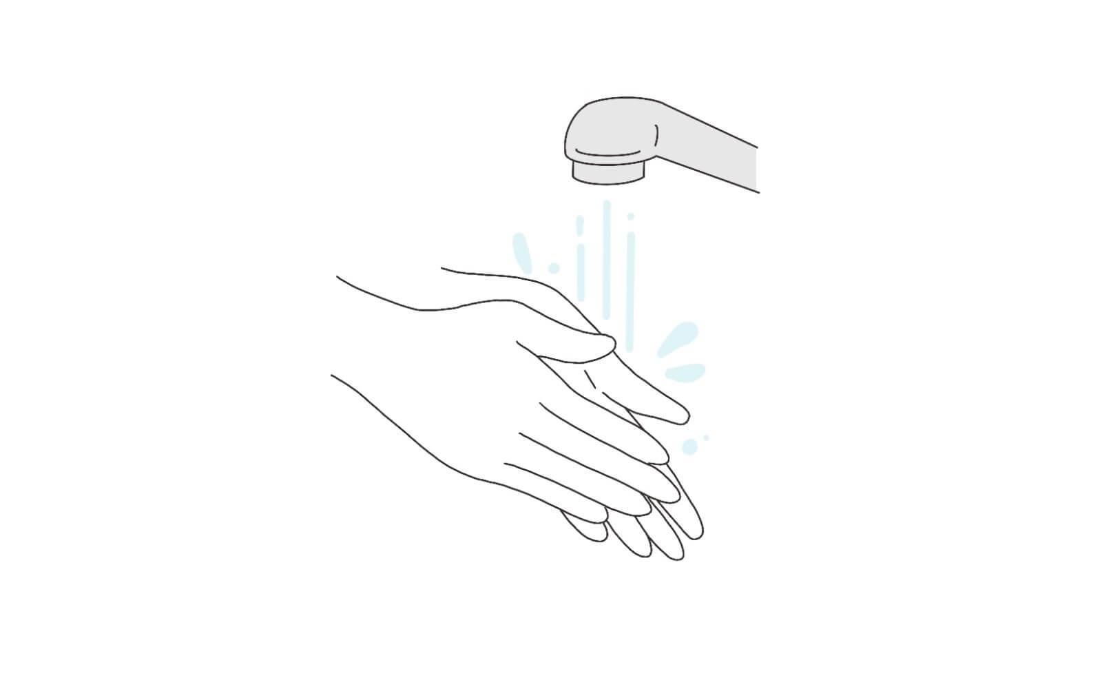 手順①手を洗い清潔にしましょう