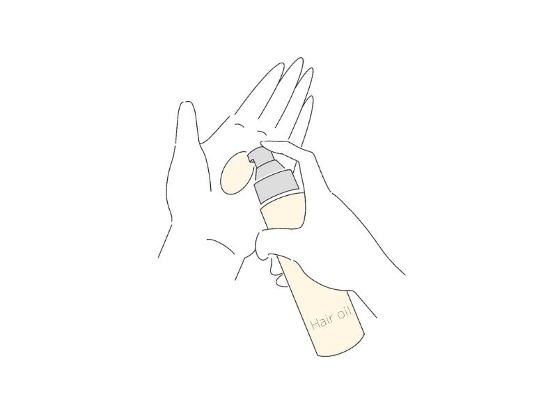 ヘアオイルを手に出すイラスト