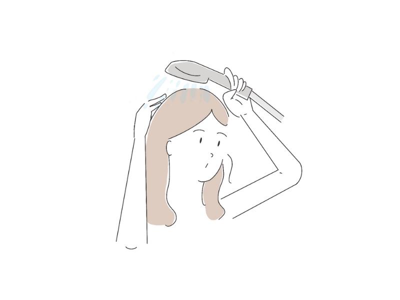 髪を洗い流す女性のイラスト