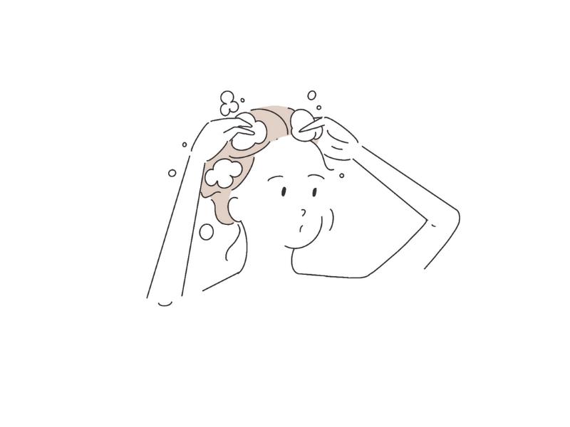 シャンプーをする女性のイラスト