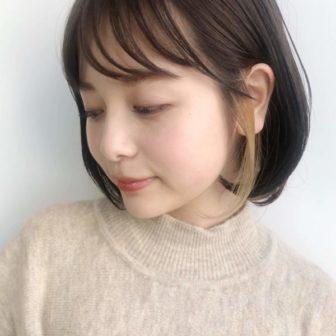 ワンカールでかわいい インナーカラー ボブ|【drive for garden】國武 さゆりのヘアスタイル・ヘアアレンジ・髪型|LALA[ララ]