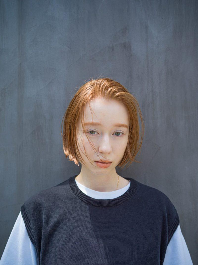 オレンジベージュボブ|表参道の美容室SOIE (ソワ) スタイリスト柳原 弘樹の髪型