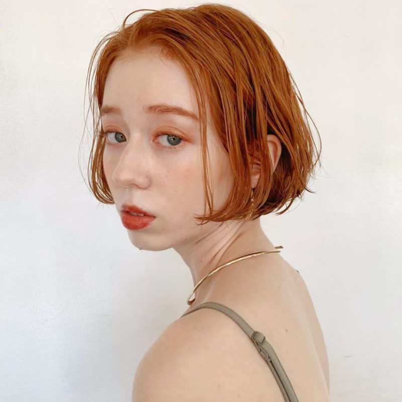 orange beige bob|表参道の美容室 lora.garden(ロラドットガーデン)スタイリスト 椛沢 柚希(カバサワ ユズキ)のヘアスタイル・髪型|ヘアカタログLALA[ララ]