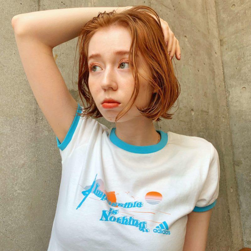 ニュアンスオレンジボブ|表参道の美容室 lora.garden(ロラドットガーデン)スタイリスト 椛沢 柚希(カバサワ ユズキ)のヘアスタイル
