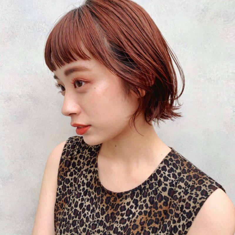 オレンジブラウンカラーボブ|表参道の美容室 lora.garden(ロラドットガーデン)スタイリスト 椛沢 柚希(カバサワ ユズキ)のヘアスタイル